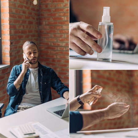 collage of businessman talking on smartphone, using laptop and touching hand sanitizer in office Reklamní fotografie