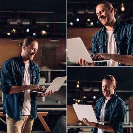 collage of emotional businessman using laptop in office Reklamní fotografie