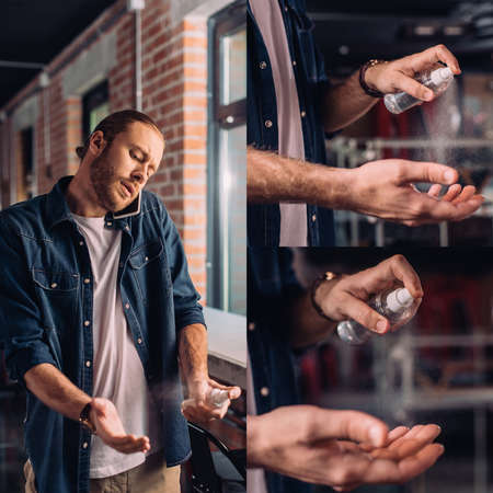 collage of businessman talking on smartphone and spraying sanitizer on hands