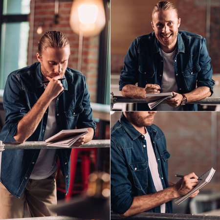 collage of pensive businessman holding pen and writing in notebook Reklamní fotografie