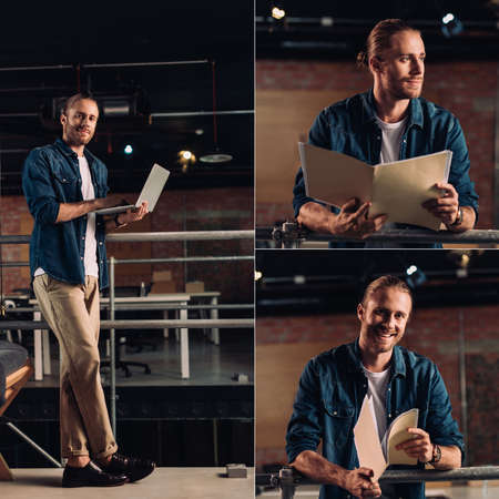 collage of happy businessman standing with laptop and holding folders in office