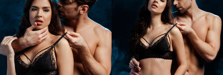 Collage of shirtless man kissing and touching bra of sexy woman on black background with smoke