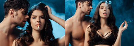 Collage of woman in bra smoking cigarette near shirtless boyfriend on black background with smoke
