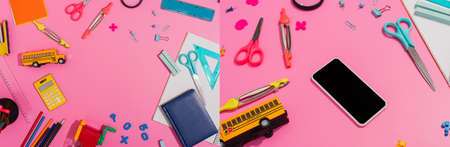 collage of school stationery near smartphone with blank screen and school bus model on pink, horizontal concept 免版税图像