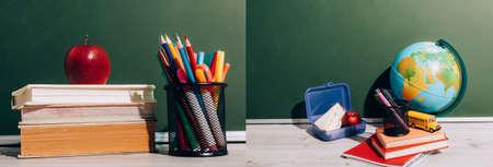 collage of ripe apple on books near pen holder, globe near lunch box and school bus model on books near green chalkboard, horizontal image