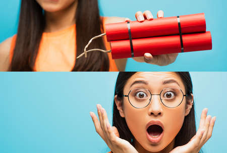 collage of shocked asian girl in glasses looking at camera, gesturing and holding dynamite sticks isolated on blue