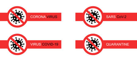 red stop signs with coronavirus bacteria on white background Ilustrace