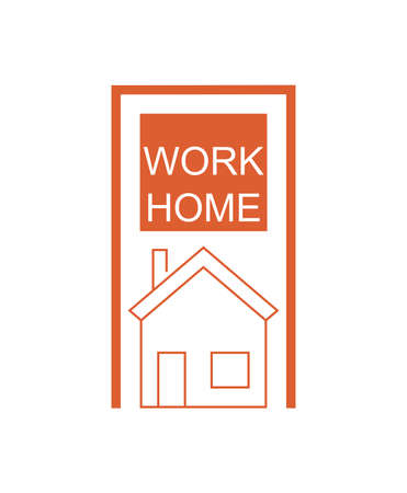 orange work home lettering and house on white background