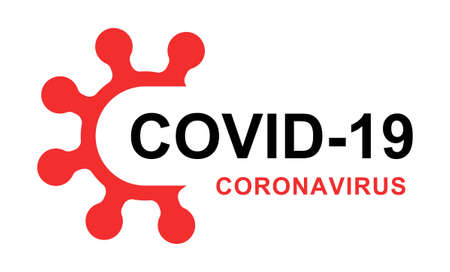 red and black coronavirus and covid-19 lettering on white background Ilustrace