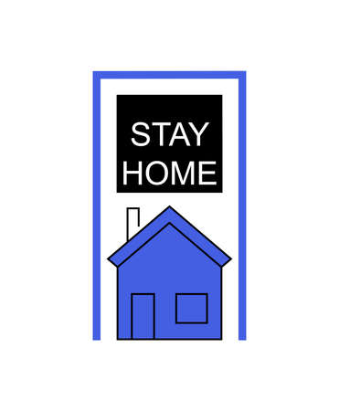 black stay and home lettering and blue house on white background Ilustrace