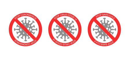red stop signs and bacteria with stop virus covid-19 lettering on white background Ilustrace
