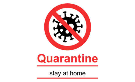 black bacteria in red stop sign, quarantine and stay at home lettering on white background Ilustrace