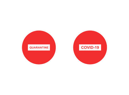 red stop signs with quarantine and covid-19 lettering on white background Ilustrace