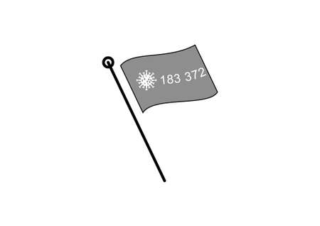 virus bacteria and number of infected in flag on white background