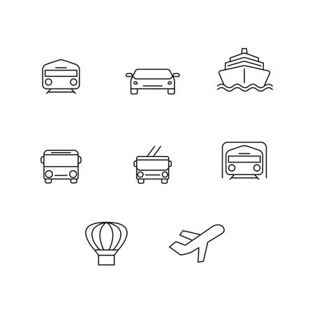 vector transport icons on white background