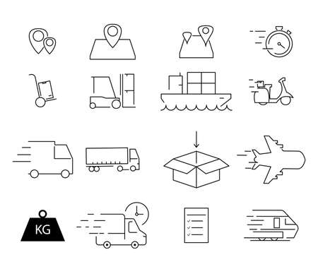 vector shipping icons on white background 向量圖像