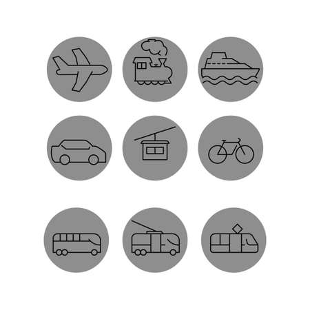 vector transport icons in gray circles on white background