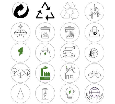 vector environmental icons in circles on white background
