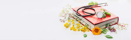 panoramic shot of herbs in book with stethoscope on white background, naturopathy concept
