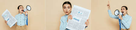 brunette woman in denim shirt with business newspaper and megaphone isolated on beige, panoramic shot Stock Photo