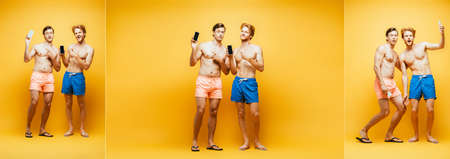 collage of two shirtless friends showing smartphones, gesturing and looking at camera on yellow, horizontal image