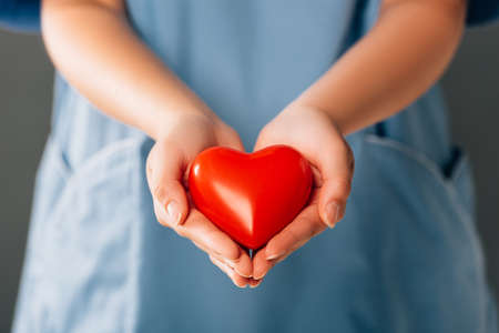 cropped view of doctor holding red heart Foto de archivo