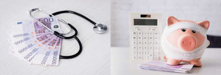 Collage of stethoscope on euros banknotes and piggy bank near calculator on table Stock fotó