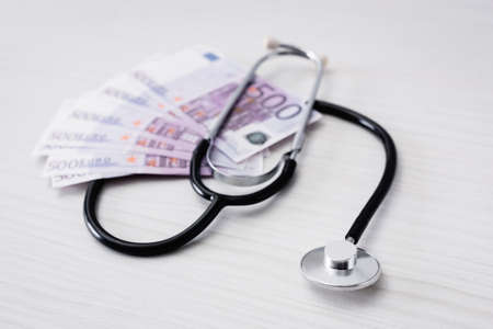 Selective focus of stethoscope with euro banknotes on table Stock fotó
