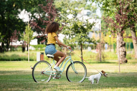 Selective focus of young woman holding jack russell terrier on leash while cycling in park
