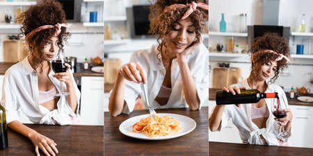 collage of woman holding fork near plate with prepared spaghetti and smelling red wine