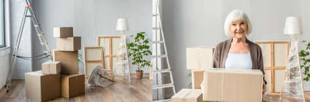 collage of cardboard boxes, frames, ladder, lamp and plant in empty room and senior woman holding box, moving concept