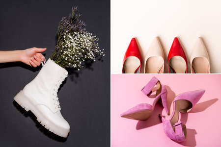 collage of elegant shoes and woman holding white boot with wildflowers