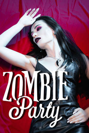 high angle view of brunette and pale woman lying near zombie party lettering on red 版權商用圖片