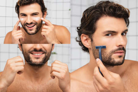 Collage of shirtless man applying face cream, holding dental floss and shaving with razor in bathroom