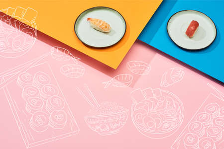 fresh nigiri with tuna and shrimp near illustration on blue, pink, orange surface Stok Fotoğraf