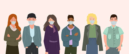 vector with interracial people in medical masks standing on white, coronavirus concept Vektorové ilustrace