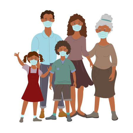 vector coronavirus icons with african american family in medical masks on white 矢量图像