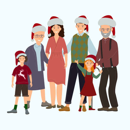 vector with happy family in santa hats on white background