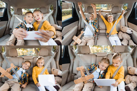 Collage of cheerful kids using devices near toys on back seat of car 免版税图像