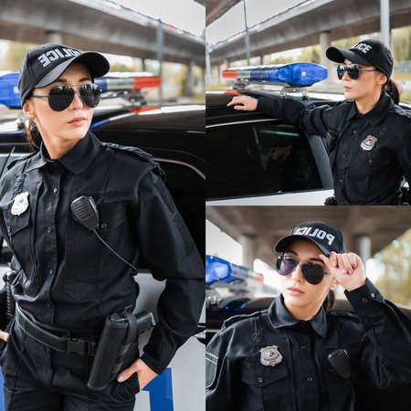 collage of confident policewoman looking away near patrol car on blurred background outdoors