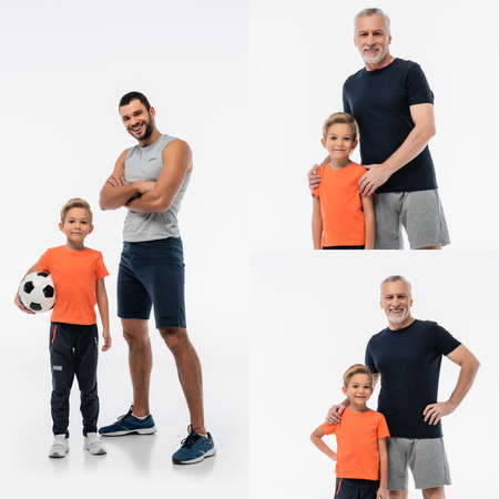 collage of man near son with soccer ball, and grandfather hugging shoulders of grandson on white