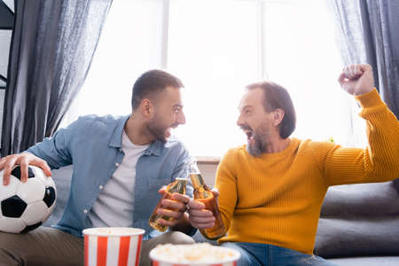 excited interracial dad and son clinking bottles of beer while watching football championship at home
