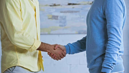 cropped view of businessmen shaking hands in office