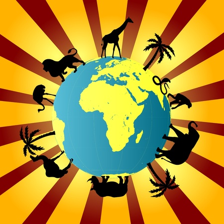 camel silhouette: Earth globe with African animals around it