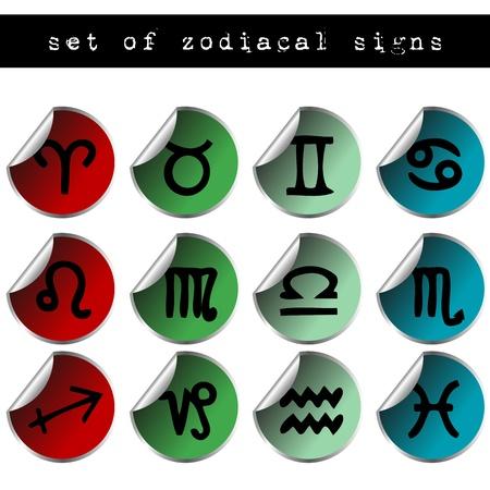signes du zodiaque: Jeu d'autocollants color�s avec des signes zodiacaux