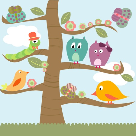 Stylized tree with doodle animals Vector