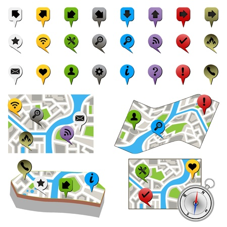 eps10 vector: street map with GPS icons  Navigation  eps10 vector illustration