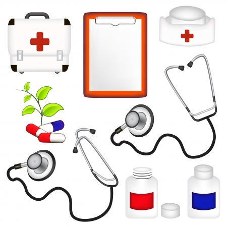auscultoscope: medicine set of design elements Illustration