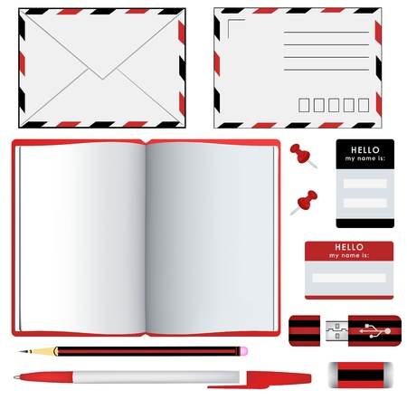 office stationery: Set of office stationery and supplies Illustration