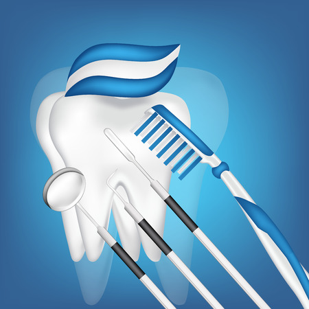 tooth and dental tools  eps10 vector illustration Иллюстрация